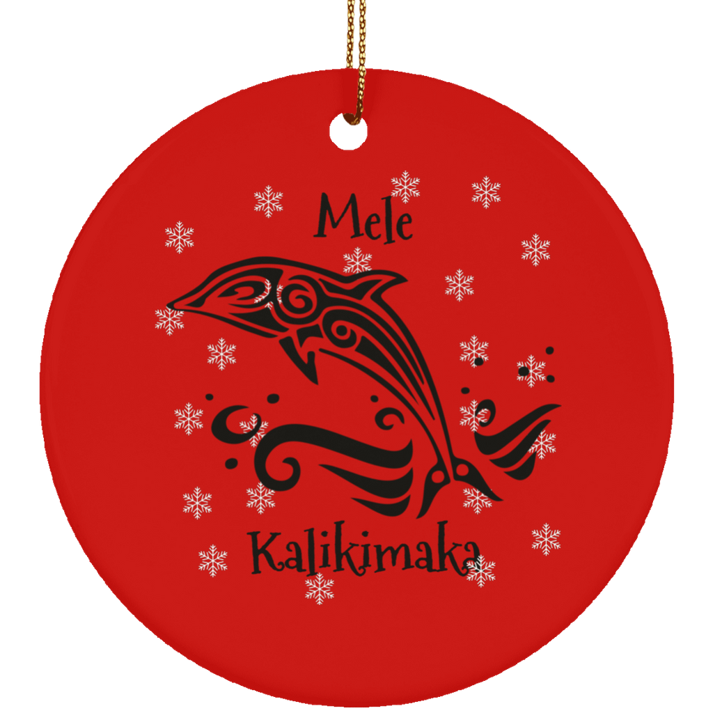 Mele Kalikimaka Tribal Dolphin Christmas Ornament Circle