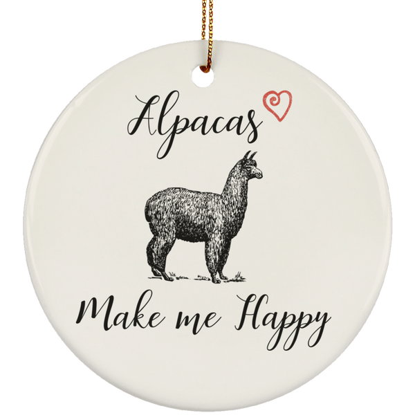 Alpacas Make Me Happy Ceramic Christmas Tree Ornament