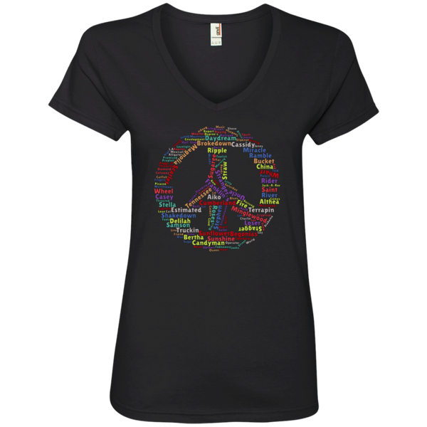 Peace Sign Dead Songs Ladies' V-Neck T-Shirt