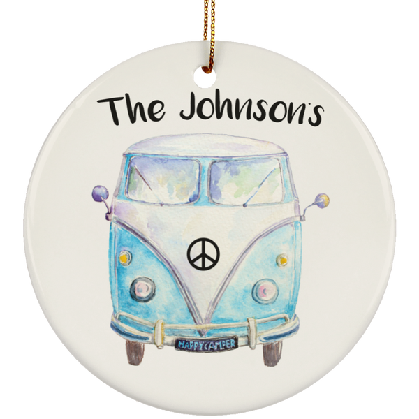 Personalized Family Bus Ornament - Circle