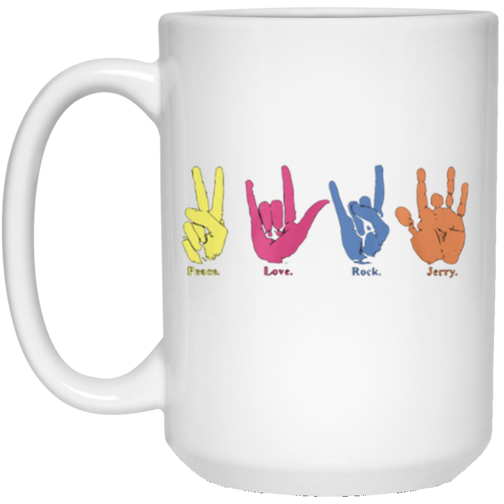 Peace Love Rock Jerry Hand Signs 15 oz. White Mug