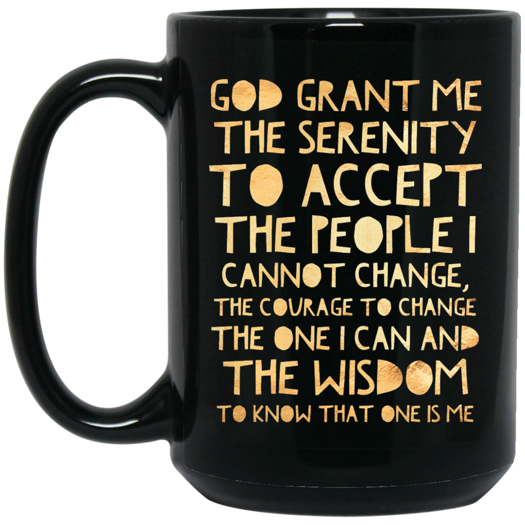 ACA Serenity Prayer Gold on Black 15 oz. Mug
