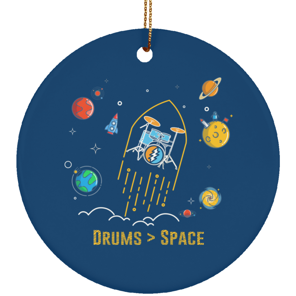 Drums Space Ceramic Circle Tree Ornament