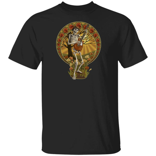 Overstock of Skeleton Guitar Roses Ultra Cotton T-Shirt Mens Large