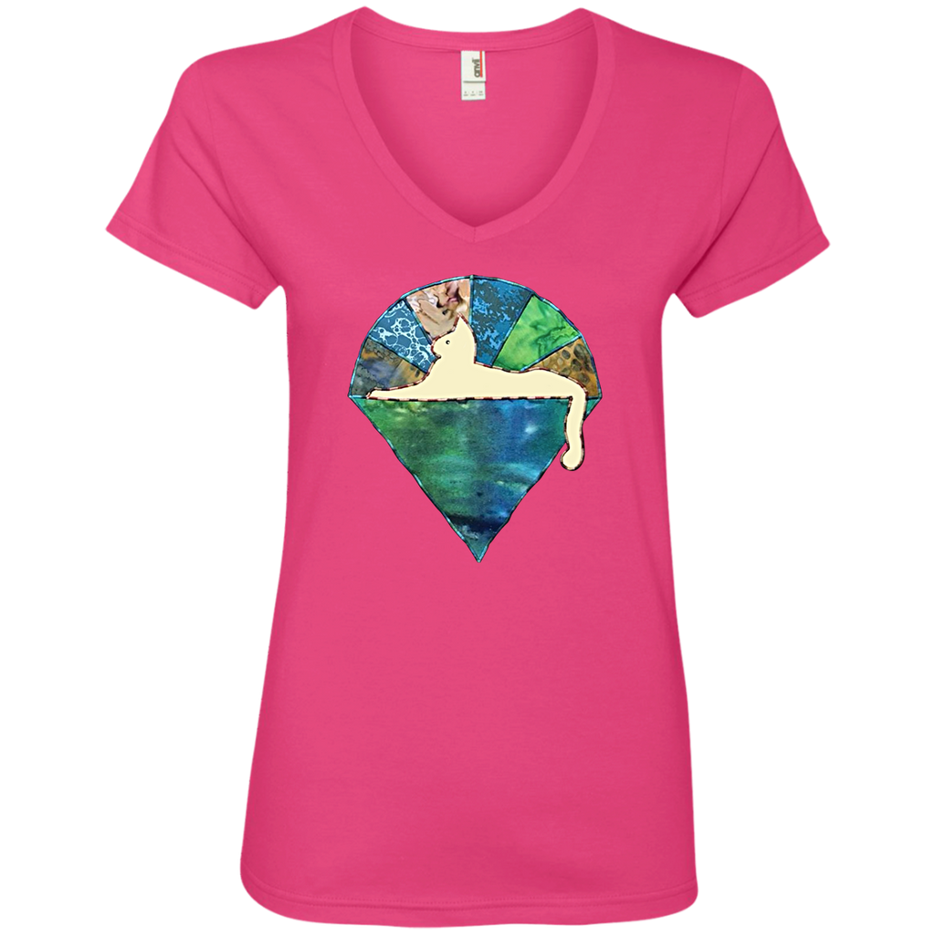 Blue Green Cat Ladies' V-Neck T-Shirt