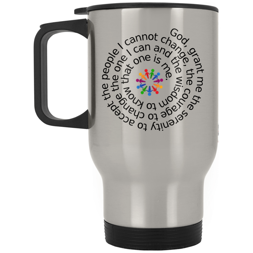 ACA Serenity Prayer People I Cannot Change Silver Stainless Travel Mug
