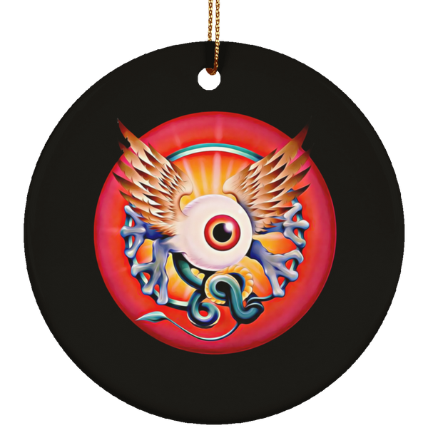 Grateful Eye With Wings Ceramic Circle Tree Ornament