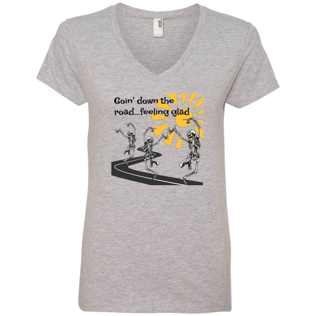 Going Down The Road Ladies' V-Neck T-Shirt