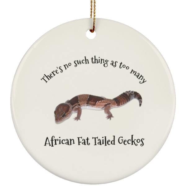 African Fat Tail Gecko Christmas Tree Ornament Ceramic Circle