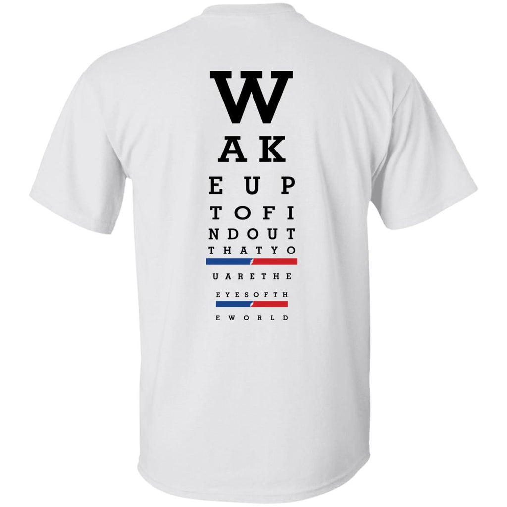 Overstock of Wake Up Eye Chart Ultra Cotton T-Shirt Back Print Mens 3X