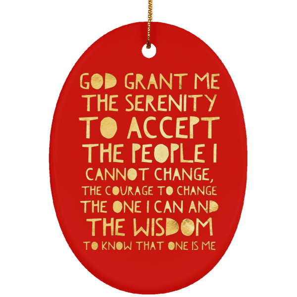 ACA Serenity Prayer Christmas Tree Ornament Ceramic Oval