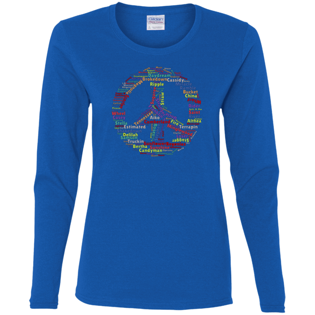 Overstock of Peace Sign Dead Songs Ladies' Cotton Long Sleeve T-Shirt
