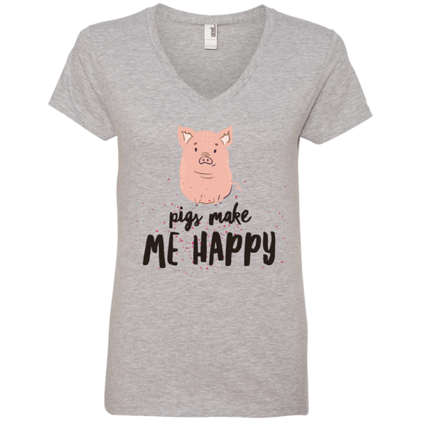 Pigs Make Me Happy Ladies' V-Neck T-Shirt