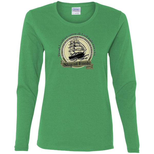Overstock of Ship Of Fools Circle Ladies' Cotton Long Sleeves T-Shirt Medium