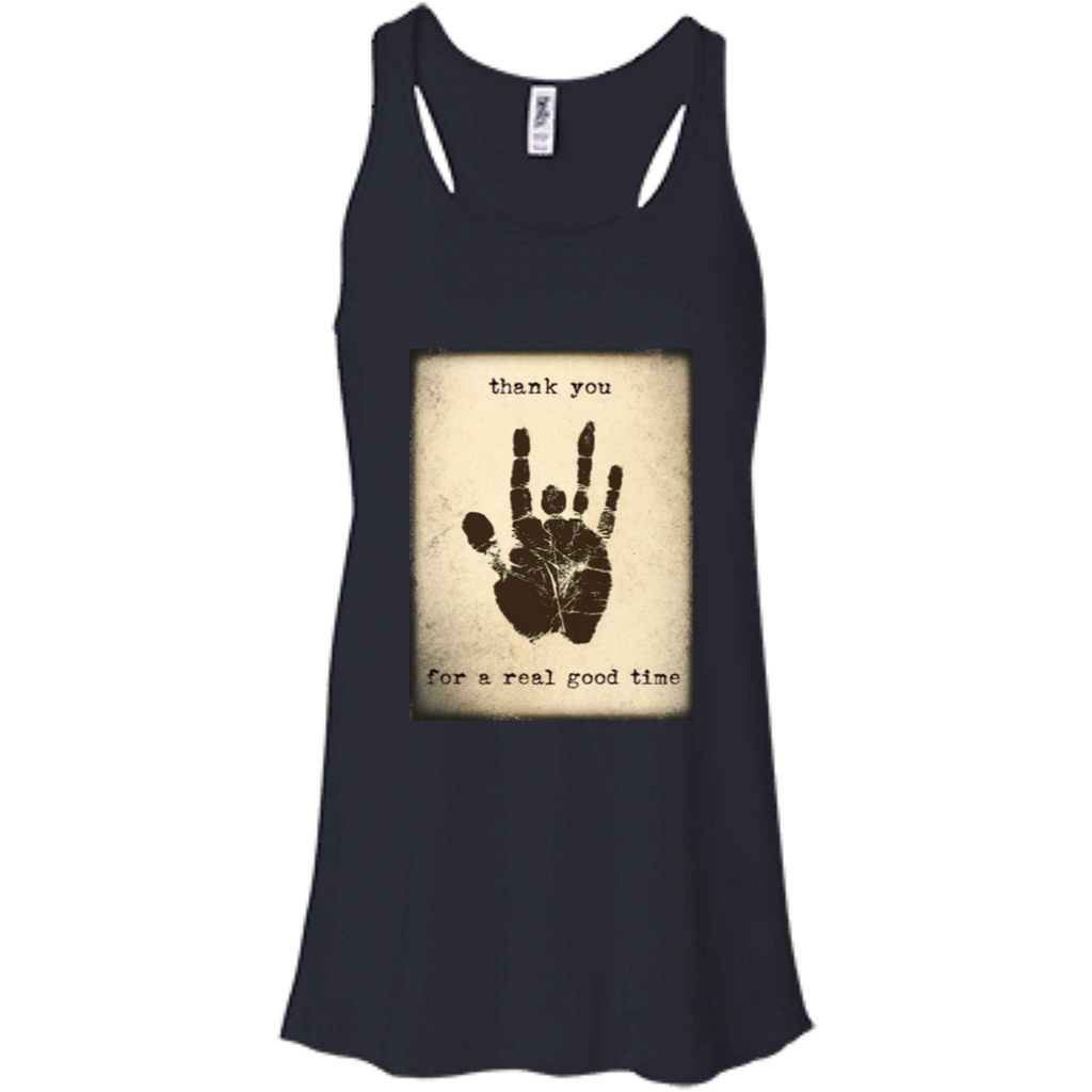 Jerry Thank You Handprint Flowy Racerback Tank