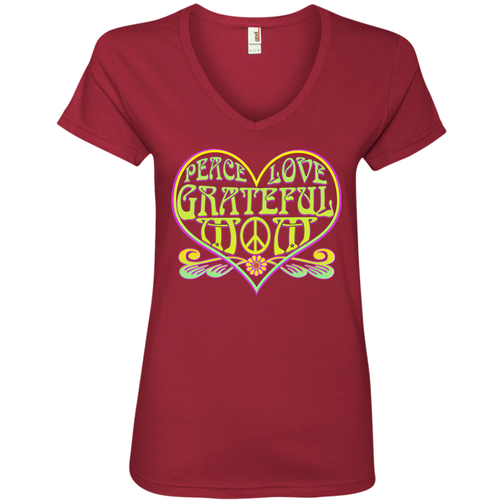 Overstock of Peace Love Grateful Mom Ladies V-Neck T-Shirt
