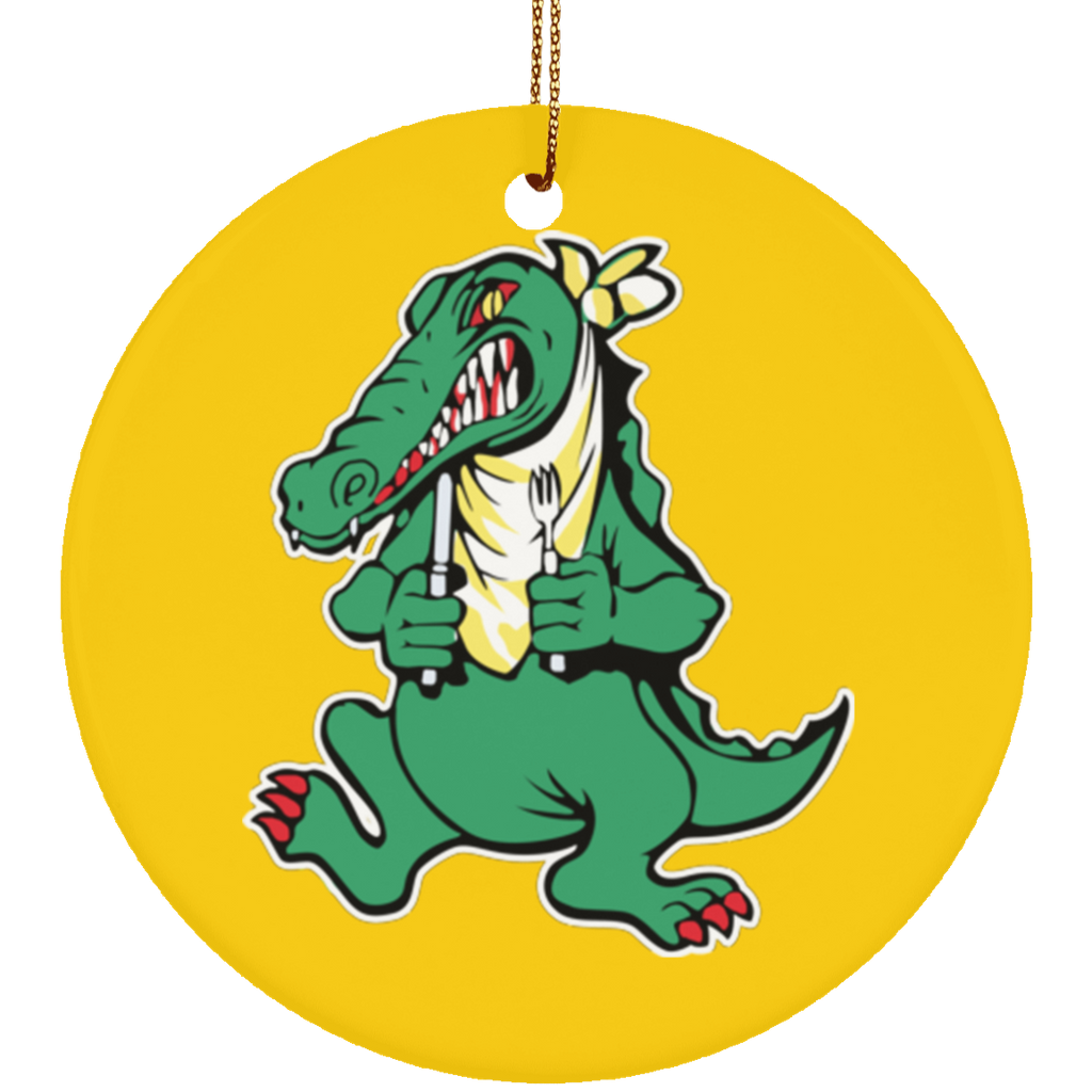 Alligator Guitar Circle Tree Ornament
