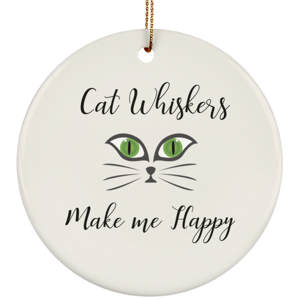 Cat Whiskers Make Me Happy Christmas Tree Ornament