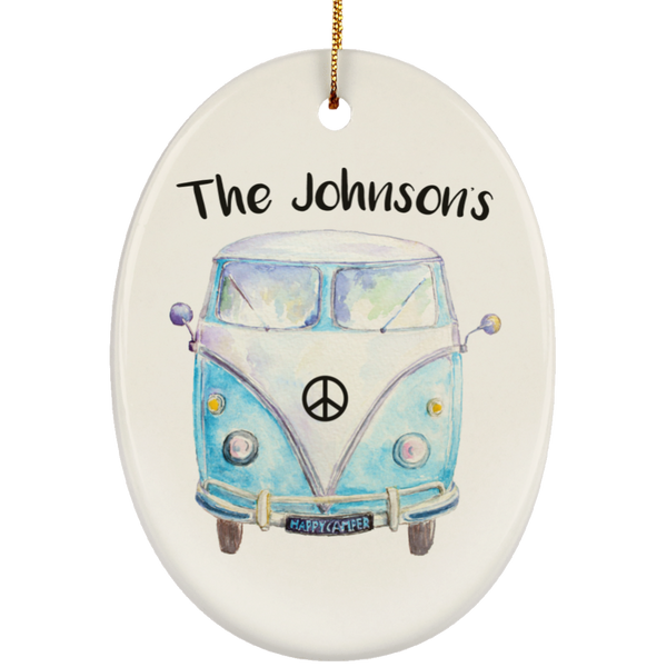 Personalized Family Bus Ornament - Oval