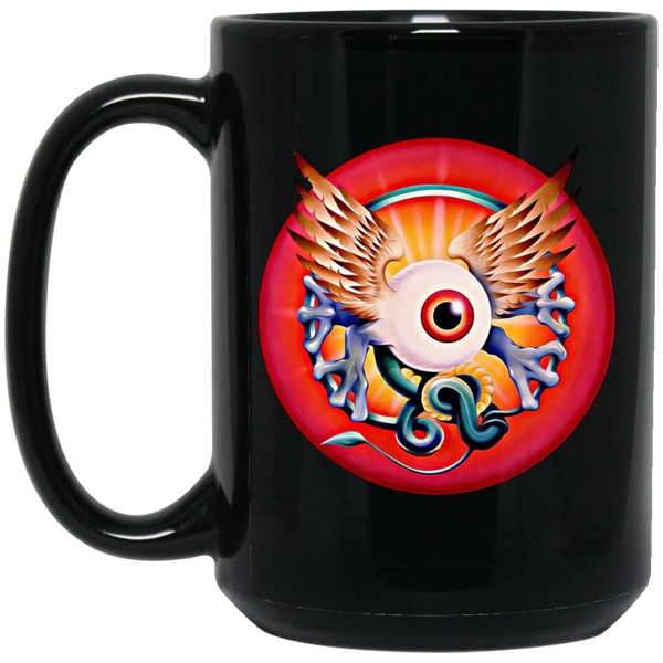 Grateful Eye With Wings 15 oz. Black Mug