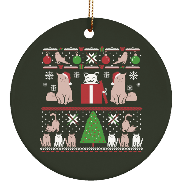 Cat Ugly Christmas Sweater Style Ornament