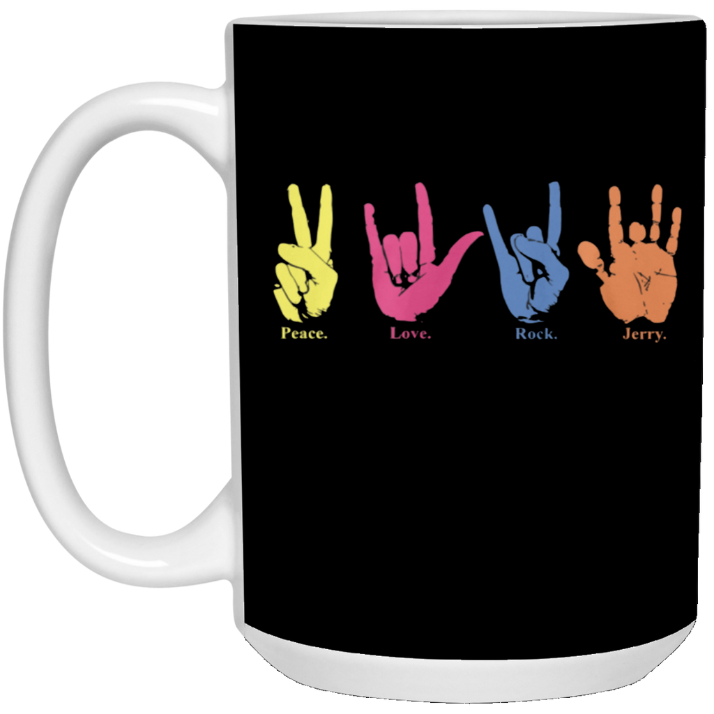 Peace Love Rock Jerry Handprint Mug - 2 Sizes