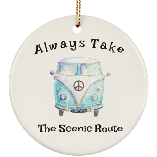 Hippie Bus Always Take The Scenic Route Christmas Tree Ornament