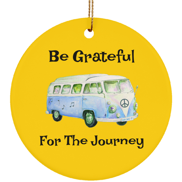 Be Grateful For The Journey Hippie Bus Christmas Tree Ornament Circle
