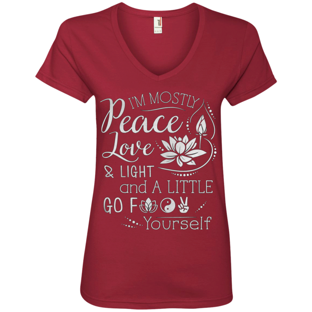 Peace Love Light Ladies' V-Neck T-Shirt
