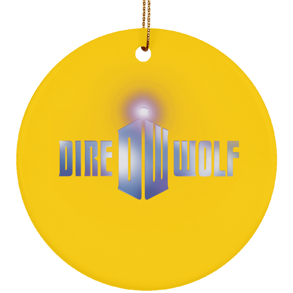 Dire Wolf Doctor Ceramic Circle Tree Ornament