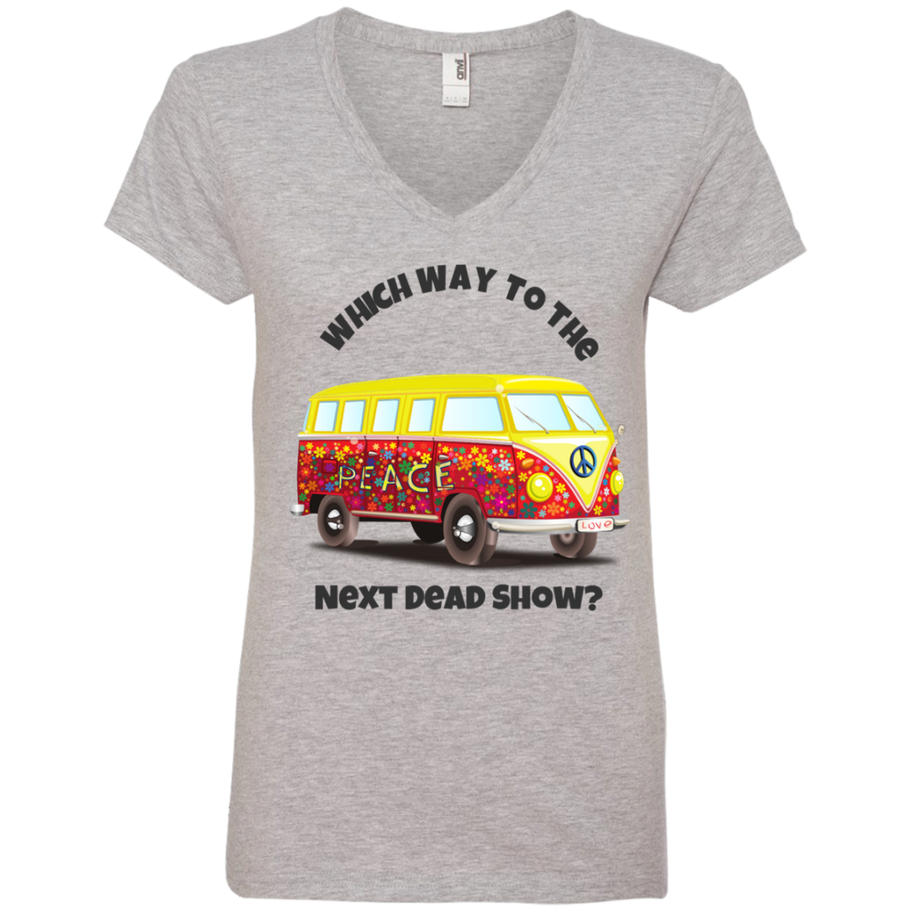 VW Bus Which Way To The Next Dead Show Ladies' V-Neck T-Shirt