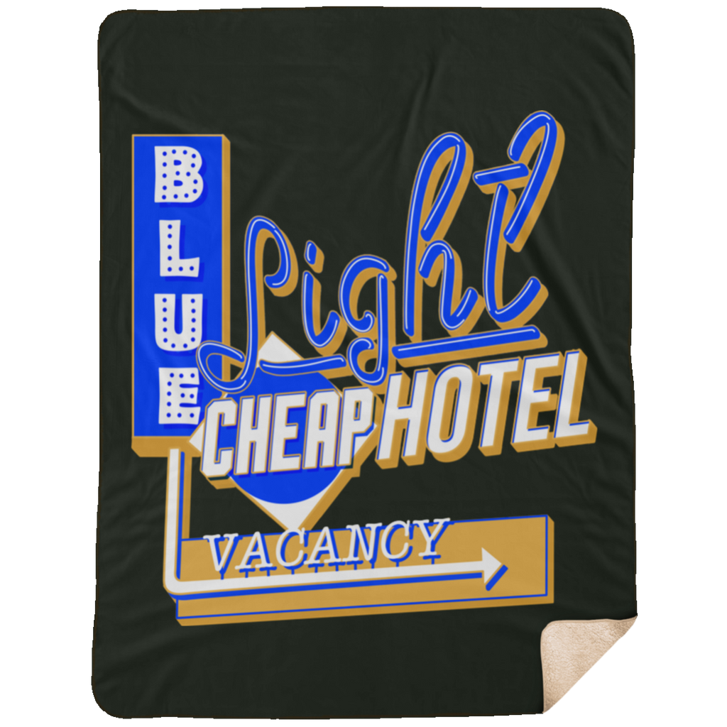 Blue Light Cheap Hotel  Large Premium Sherpa Blanket
