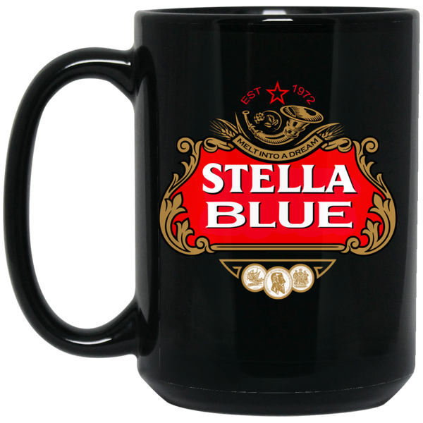 Stella Blue 15 oz. Black Mug