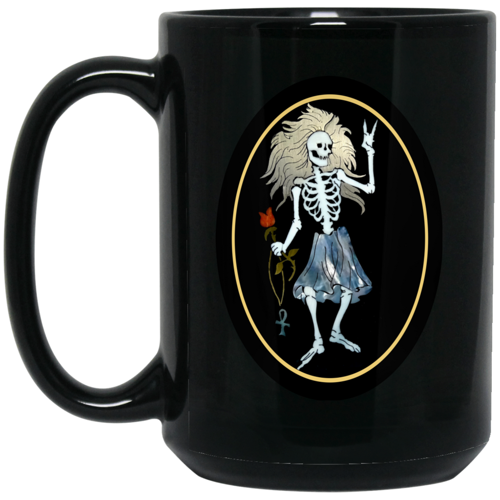 Rosebud Guitar 15 oz. Black Mug
