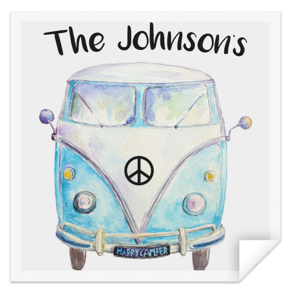 Personalized Family Bus Square Sticker