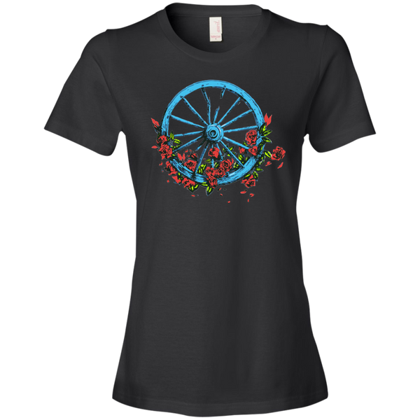 Overstock of Wheel Roses Ladies Premium T-Shirt Small