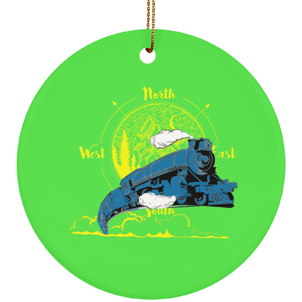 Northbound Train Circle Tree Ornament
