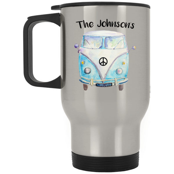Personalized Family Bus Silver Stainless Travel Mug