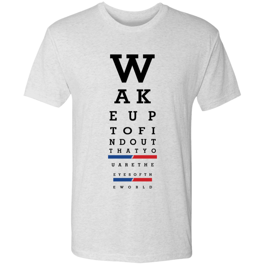 Overstock of Wake Up Eye Chart Premium Triblend T-Shirt Mens Large