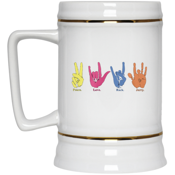 Peace Love Rock Jerry Hand Signs Beer Stein 22oz.