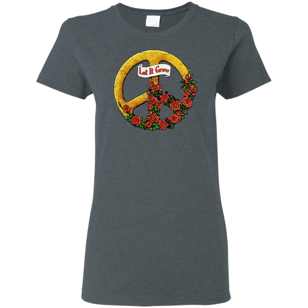 Let It Grow Peace Sign Ladies T-Shirt