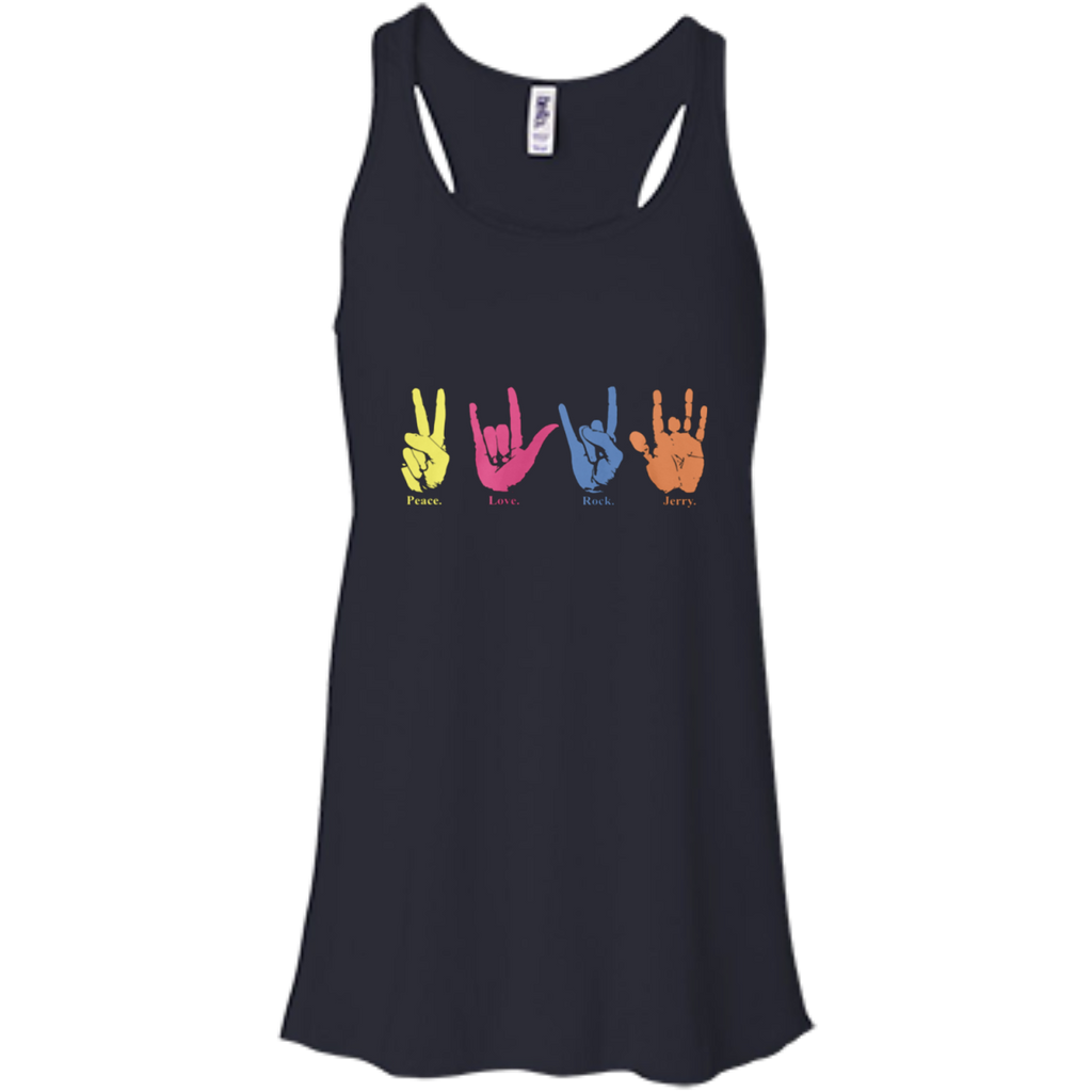 Peace Love Rock Jerry Ladies Flowy Racerback Tank