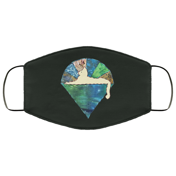 Blue Green Cat 2 Layer Protective Face Mask