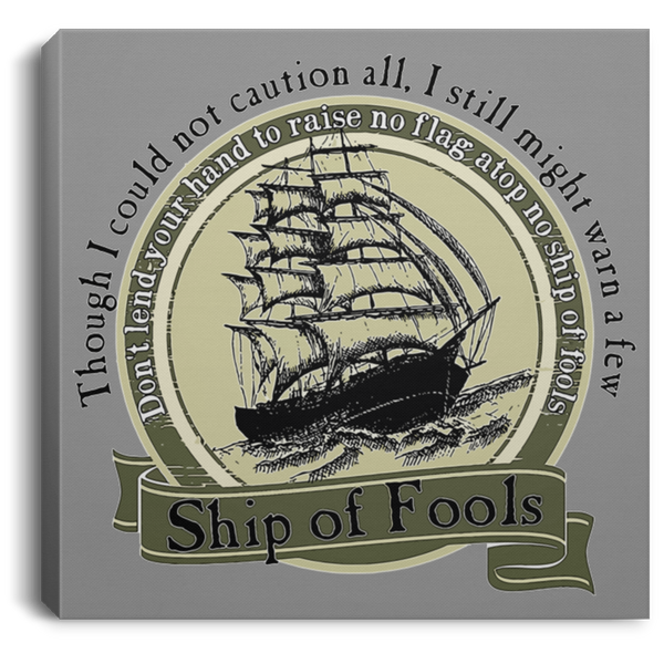 Ship Of Fools Circle Square Canvas .75 Inch Frame
