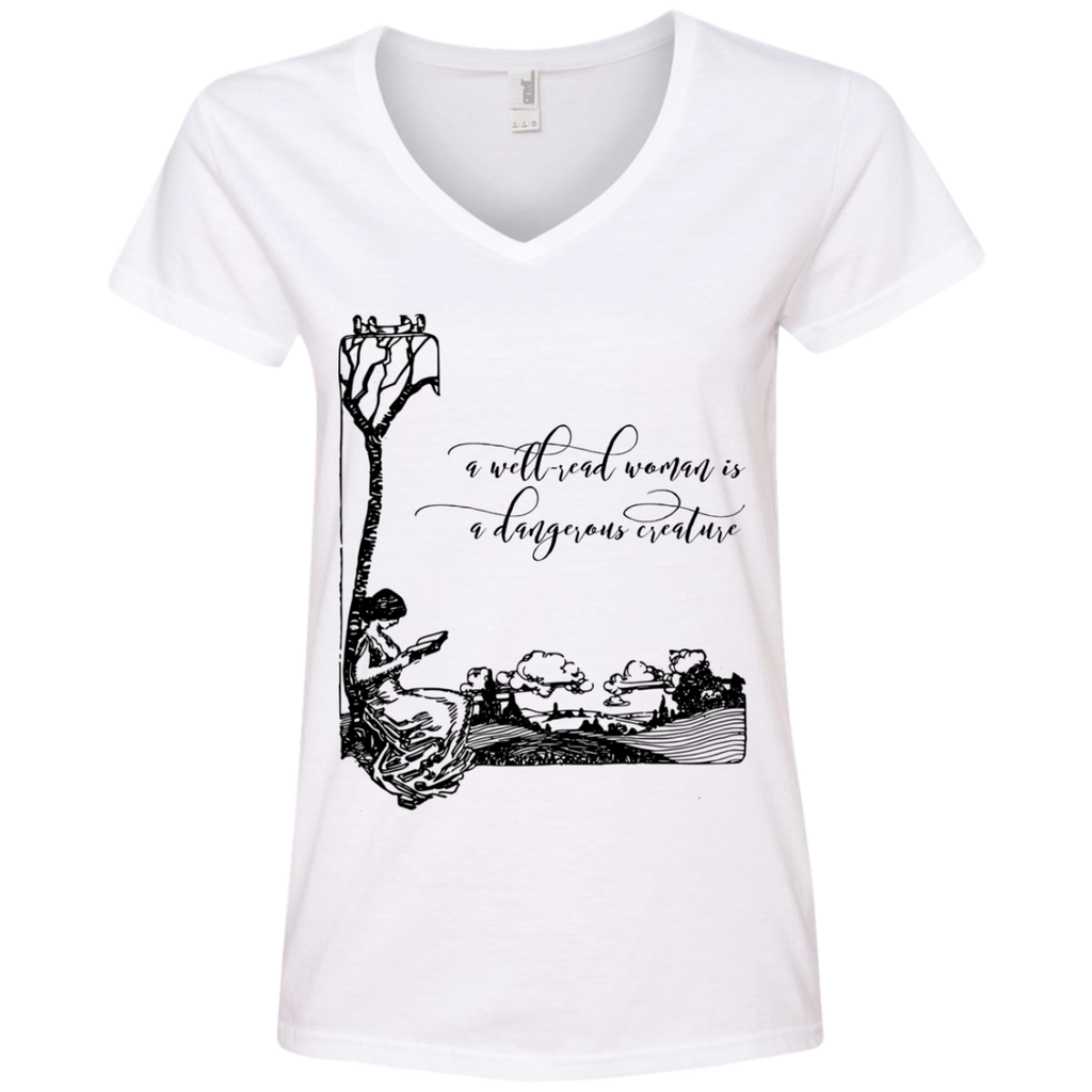 A Well-Read Woman Is A Dangerous Creature V-Neck T-Shirt