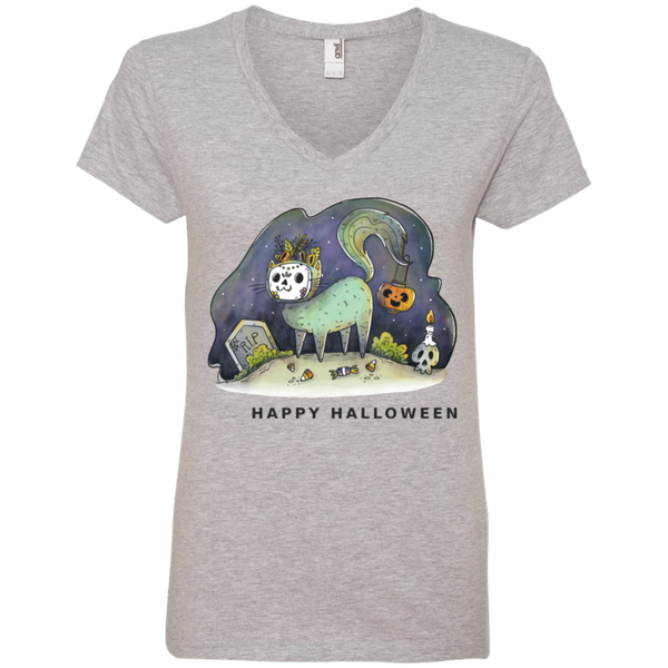 Halloween Cat  Ladies' V-Neck T-Shirt