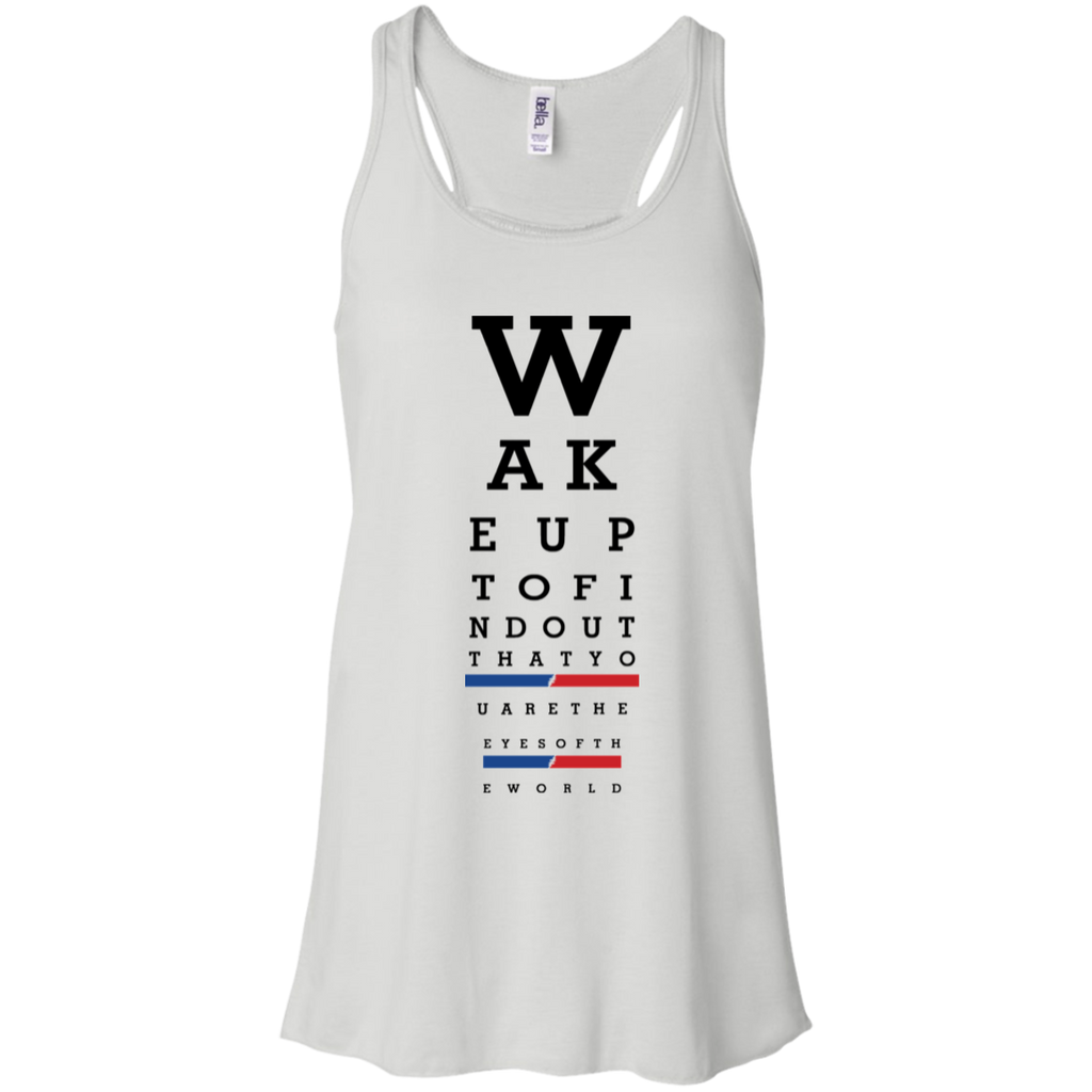 Wake up eye chart Flowy Racerback Tank