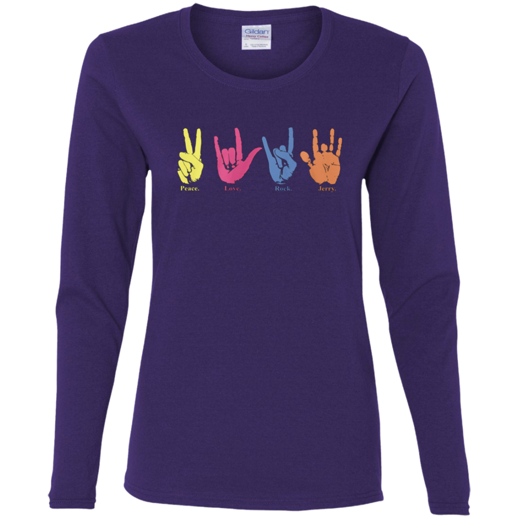 Limited Edition - Peace Love Rock Jerry Handprint Ladies' Cotton Long Sleeve T-Shirt