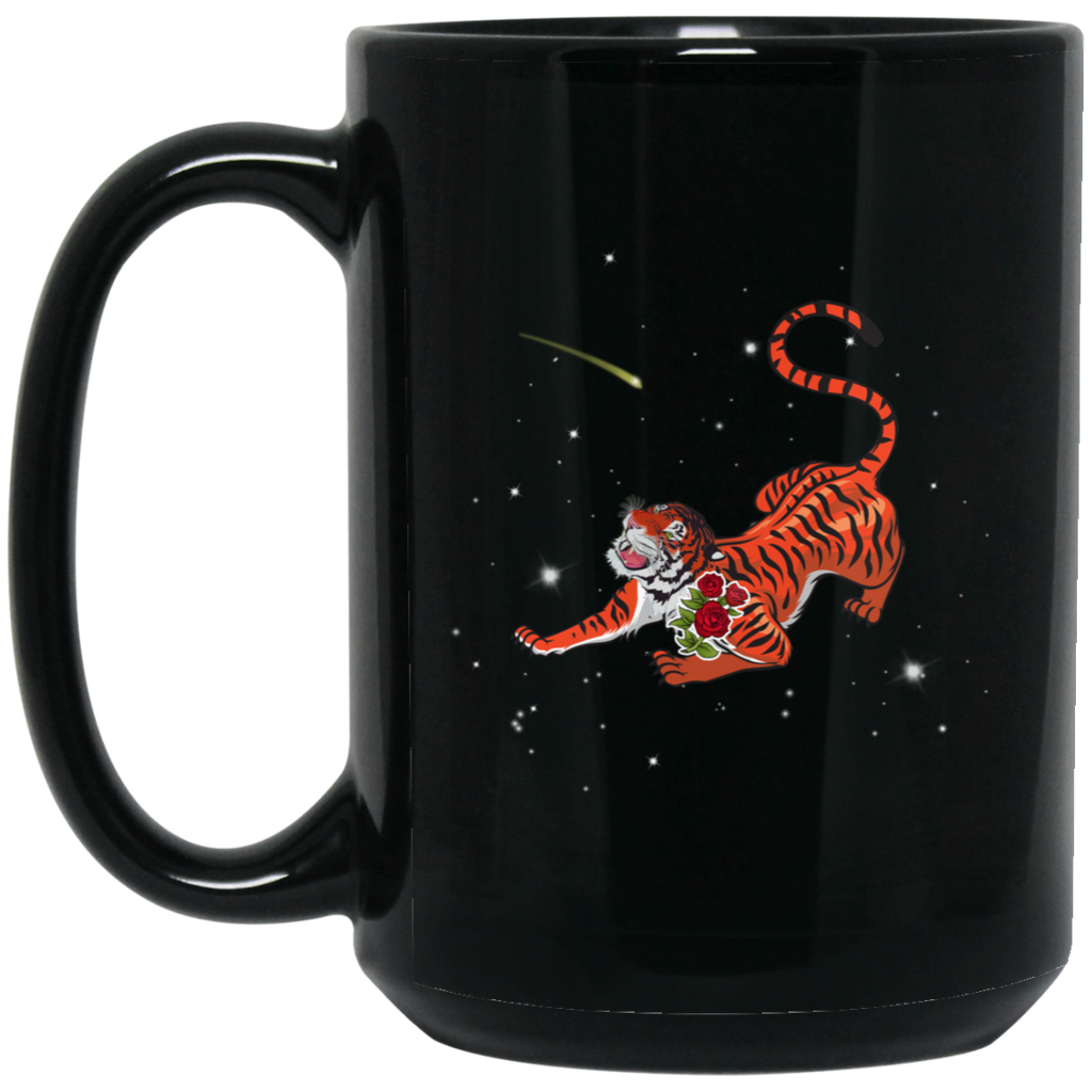 Tiger In Stars 15 oz. Black Mug