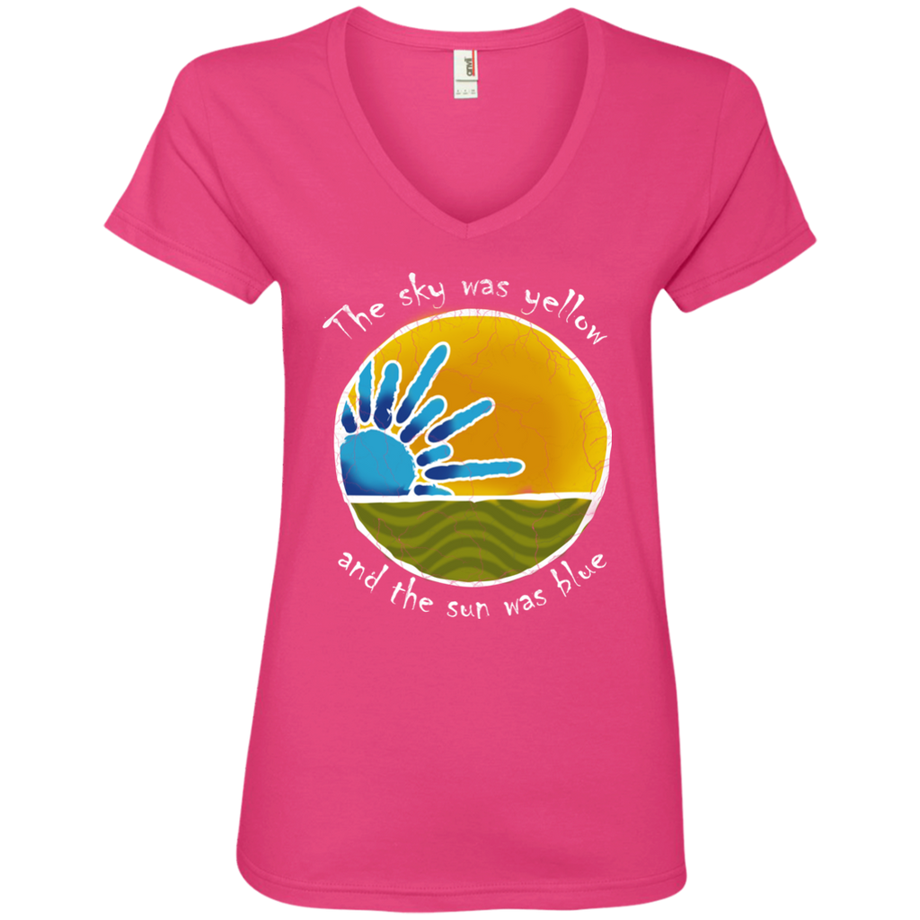 Overstock of Sky Was Yellow Ladies V-Neck T-Shirt